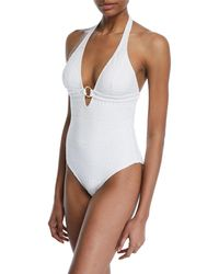 Letarte - Lace Halter Ring One-piece Swimsuit - Lyst