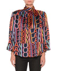 MSGM - Printed Satin Boxy High-neck Blouse With Removable Shoulder Pads - Lyst