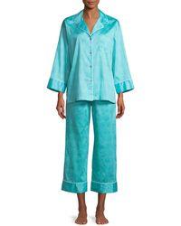 Natori - Fan Honeycomb-print Sateen Classic Pajama Set - Lyst