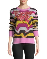 Libertine - Beaded Wavy-stripe Cashmere Sweater - Lyst