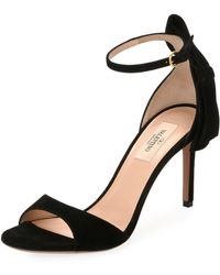 Valentino - Suede Bow-heel Sandal - Lyst