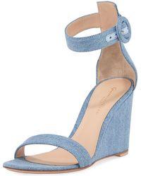 Gianvito Rossi - Portofino Denim Wedge 85mm Sandals - Lyst