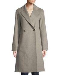 Fleurette - Long Double-breasted Wool Coat - Lyst