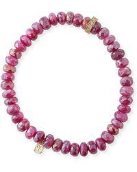 Sydney Evan - 14k Diamond Rondelle Moonstone Bracelet - Lyst
