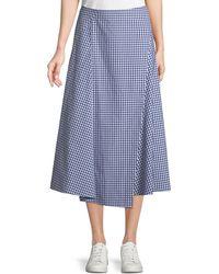 Theory - Hartman Gingham Midi Cotton Placket Skirt - Lyst