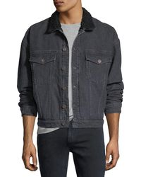 Hudson Jeans - Men's Shearling-trim Denim Trucker Jacket - Lyst