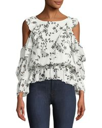 Joie - Carlyton Floral-eyelet Cold-shoulder Silk Top - Lyst