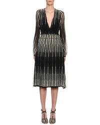 Giambattista Valli - Deep-v Long-sleeve Dot-print Silk Midi Dress - Lyst