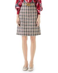 Gucci - A-line Tweed Knee-length Skirt With GG Hardware - Lyst