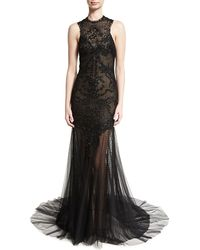 Monique Lhuillier | Geometric Beaded Swiss Dot Halter Gown | Lyst