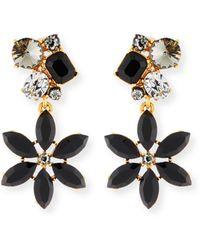 Oscar de la Renta - Crystal Flower Clip-on Earrings - Lyst
