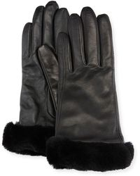 UGG - Leather Gloves W/ Shearling Fur Cuffs - Lyst