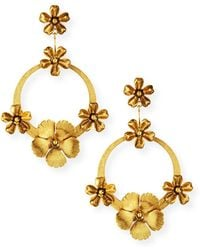 Jennifer Behr - Hoop With Flowers Earrings - Lyst