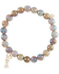 Sydney Evan - Coated Labradorite Bead Bracelet W/ Love Charm - Lyst