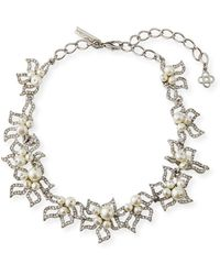 Oscar de la Renta - Pave Petal Collar Necklace - Lyst