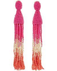 Oscar de la Renta - Long Ombre Beaded Tassel Clip-on Earrings - Lyst