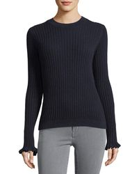 M.i.h Jeans - Happy Frill Long-sleeve Ribbed Merino/cashmere Sweater - Lyst