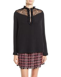 Pinko - Ruffle Lace Long-sleeve Silk Blouse - Lyst