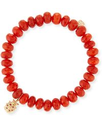 Sydney Evan - Carnelian Bead & 14k Ladybug Charm Bracelet - Lyst