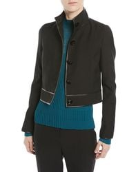 Narciso Rodriguez - Virgin Wool Button-front Cropped Jacket W/ Lambskin Trim - Lyst