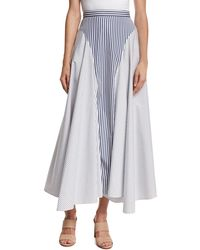 Adam Lippes - Mixed-stripe Poplin Midi Skirt - Lyst