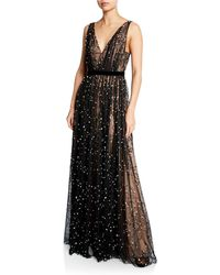 J. Mendel - Sleeveless Embroidered Lace V-neck Gown - Lyst
