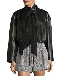 3.1 Phillip Lim - Cropped Lamb Leather Bomber Jacket - Lyst
