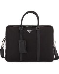 Prada - Men's Slim Nylon Briefcase With Leather Trim - Lyst