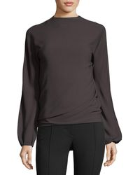 Helmut Lang | Low-back Long-sleeve Draped Top | Lyst