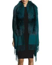 Pologeorgis - Wool Wrap W/ Fur Trim - Lyst