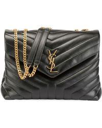 Saint Laurent - Loulou Monogram Ysl Medium Quilted V-flap Chain Shoulder Bag  - Lyst eb95e2d826