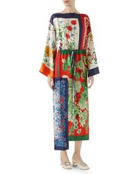 Gucci - Long-sleeve Multipattern Floral-print Patchwork Silk Caftan With Uneven Hem - Lyst