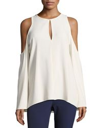 Theory - Sarver Rosina Crepe Cold-shoulder Top - Lyst