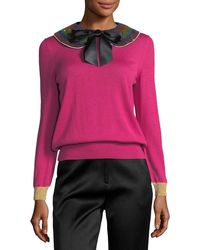 Gucci - Cashmere Silk Knit Top With Detachable Collar - Lyst