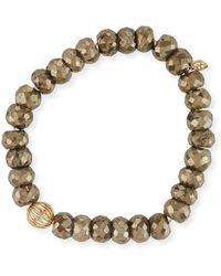 Sydney Evan - 8mm Pyrite Beaded Bracelet W/ 14k Diamond Ball Charm - Lyst
