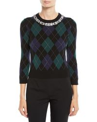 Michael Kors - Crystal-beaded Necklace Argyle Starlet Cashmere Sweater - Lyst