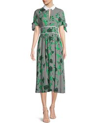 Lela Rose - Striped Tie-sleeve Shirtdress With Leaf Embroidery - Lyst