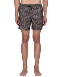 Fendi - Men's Logo Allover Swim Trunks - Lyst