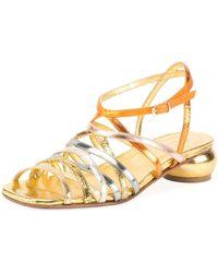 Dries Van Noten - Metallic Strappy Low-heel Sandal - Lyst
