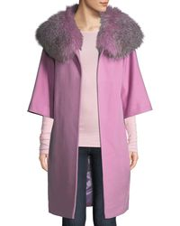 Fleurette - Wool Cocoon Coat W/ Oversized Fur Collar - Lyst