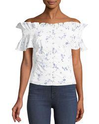 Rebecca Taylor - Francine Floral Off-the-shoulder Button-front Top - Lyst