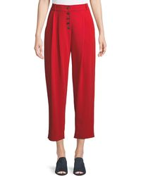 A.L.C. - Russel Cropped Button-fly Crepe Trousers - Lyst