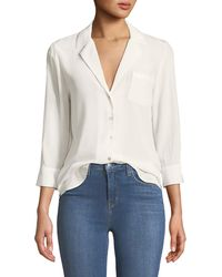 L'Agence - Amlina 3/4-sleeve Silk Button-front Blouse - Lyst