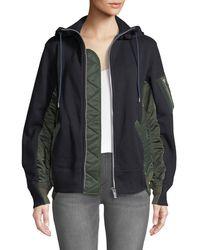 Sacai - Zip-front Nylon Combo Hooded Cotton Jacket - Lyst
