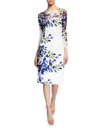 Teri Jon - Floral Three-quarter Sleeve Scuba Dress - Lyst