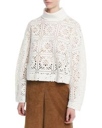 ff198b71e404b See By Chloé - Turtleneck Long-sleeve Cutout Sweater - Lyst