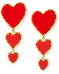 Edie Parker - 14k Triple Heart Earrings - Lyst