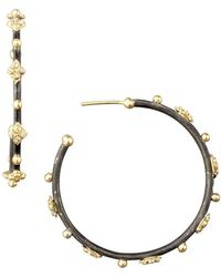 Armenta - Diamond Cravelli Cross Small Hoop Earrings - Lyst