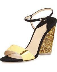 Edie Parker - Parker Tie-front Glitter-heel Sandal - Lyst