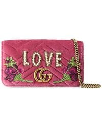 21480d273d2 Gucci - Small Full Flap Wallet-on-a-chain With Love - Lyst